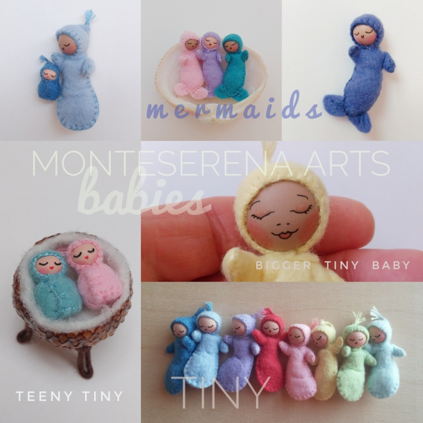 "And the very popular babies:   Bigger Tiny Baby (3.5""), Tiny Baby or Tiny Baby Mermaid (1.75"") alone or in a Walnut cradle, and the Teeny Tiny Baby (.5""), alone or in an acorn cap cradle.   Jessica will have different colors and skin tones available."